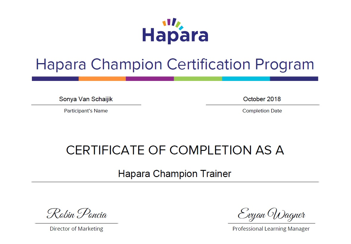 acd075d843fd3e ... Completed all three Hapara Certifications ...